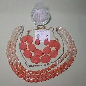 Peach Earrings + 2 Necklaces Summer Trio